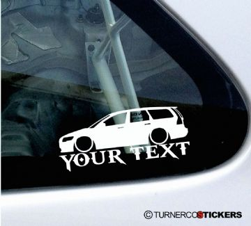 2x Lowered Volvo V50 station wagon (2004-2012) Your Text custom silhouette car Stickers